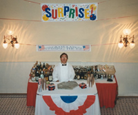 surprise party  bar exams with patriotic theme, bartending in Southern California, luau, beach party, bartender girl, sunseri, bar catering, beverage catering, wedding reception, corporate beer party