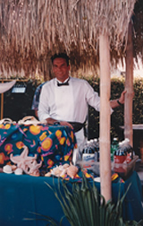tropical bar theme with grass shack and sea shells, Bartending in Southern California - surprise party for passing the Bar exam, martini bar, wine tasting, cordials, margaritas, beer, microbrew, shooters, tropical drinks, theme bar, wedding reception, bar catering, beverage catering